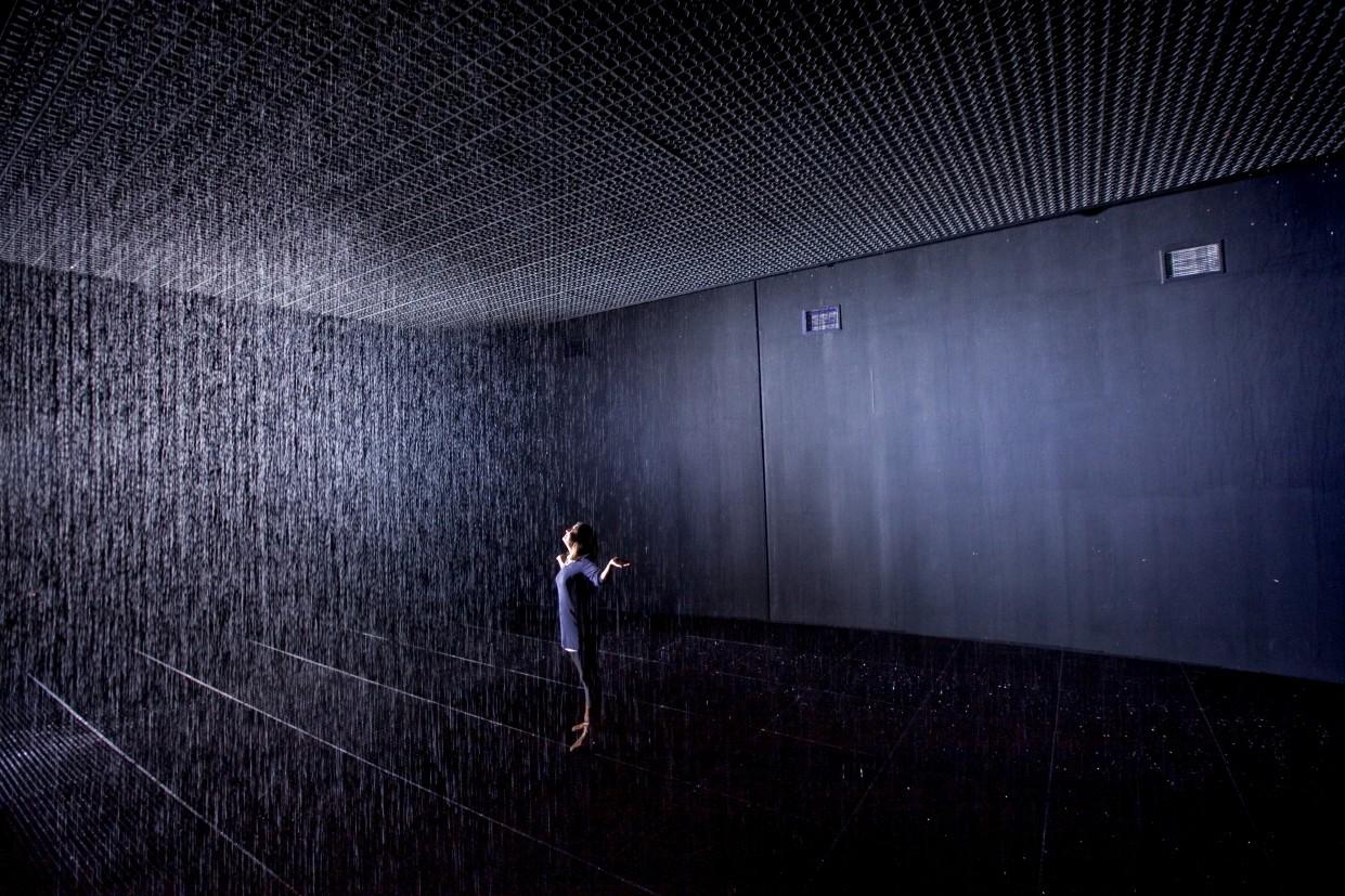 rain room  a field of falling water