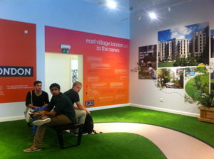 Architecture students from Syracuse University in the East Village marketing suite, Stratford, © Lucy Bullivant.