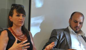 Claudia Pasquero and Matteo Gatto at the Cybergardening roundtable, Spazio FMG, July 2012.