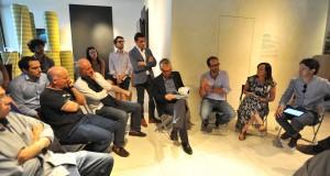 Marco Poletto (R to L), Lucy Bullivant, Luca Molinari, Stefano Boeri and Aldo Cibic at the Cybergardening roundtable, Spazio FMG, Milan, July 2012.