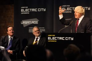 Prime Minister David Cameron, LSE Director Craig Calhoun watch London's Mayor Boris Johnson presenting the Tech City.