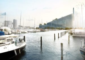 Amager Bakke waste-to-energy plant from the marina, Copenhagen, BIG. © BIG/Bjarke Ingels Group.