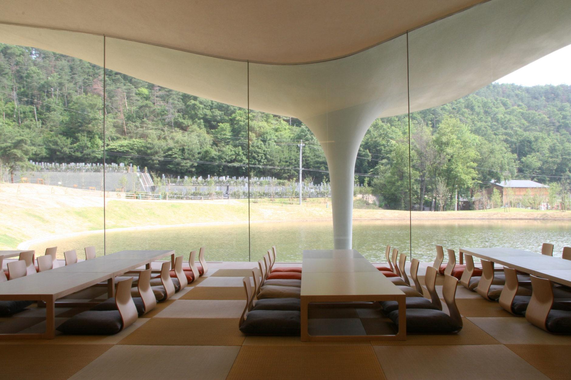 Toyo Ito & Associates Architects, Meiso no Mori Municipal Funeral Hall, 2004-6, Kakamigahara-shi, Gifu, Japan.