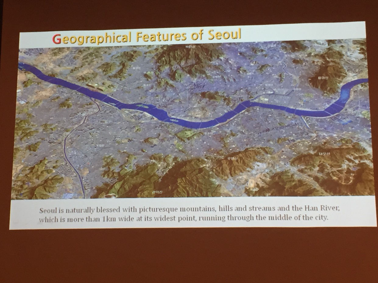 Seoul's geography presented by Mack Joong Choi (Seoul National University) in The Seoul Experiment session, SIBAU symposium, October 2015, © Lucy Bullivant.