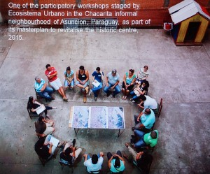 One of the participatory workshops staged by Ecosystem Urbano, 2015, in the Chacarita informal neighbourhood, Asunción, Paraquay, part of the revitalisation masterplan for the historic centre, © Ecosystema Urbano.