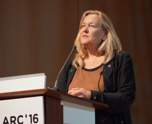 Professor Patricia McCarney, speaking at the Sustainable Urbanism event at ARC'16, 22 March 2016. © Qatar University.