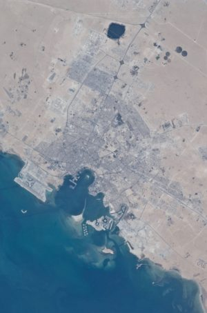 Doha City, Doha Bay, State of Qatar and the Persian Gulf, aerial view by NASA International Space Station , 2010. Image © NASA.