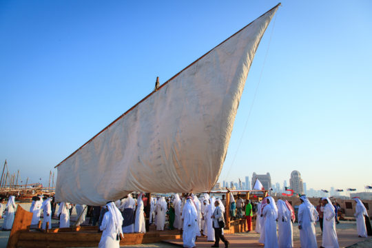Unfurling sails for the 2nd traditional Dhow Festival, Katara Cultural Village, Doha, 2012. Photo © Omar Chatriwala.
