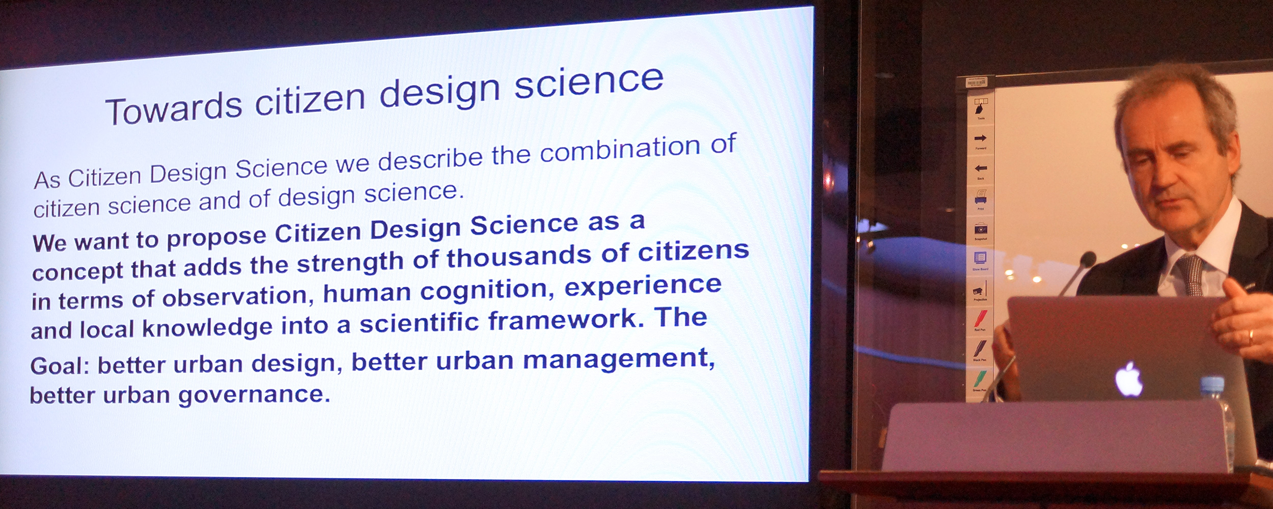 Professor Dr Gerhard Schmitt explaining his proposal for Citizen Design Science, Sustainable Urbanism New Directions Workshop, 21 March 2016, University of Qatar, © University of Qatar.