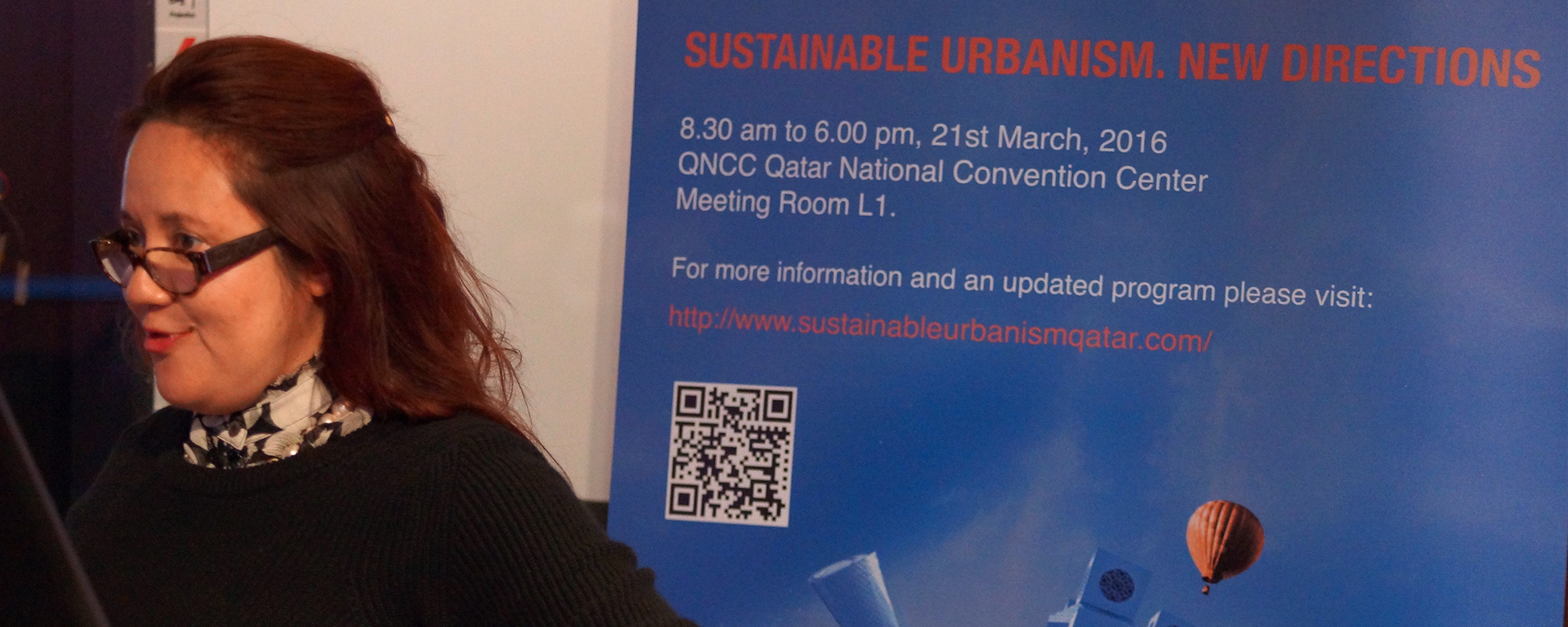 Sharifah Hamza presenting at the Sustainable Urbanism: New Directions Workshop, 21 March 2016, Qatar University, © Qatar University.