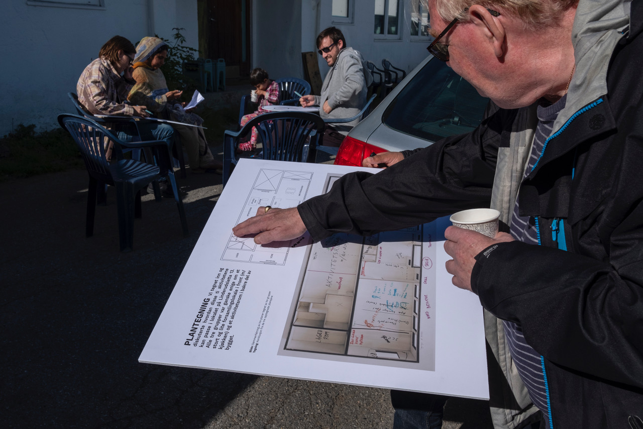 Dugnad Days community workshop at Sletteløkka, Oslo, May 2019, choosing priority activities for the 'grendehus', with suggestions added to giant keys.