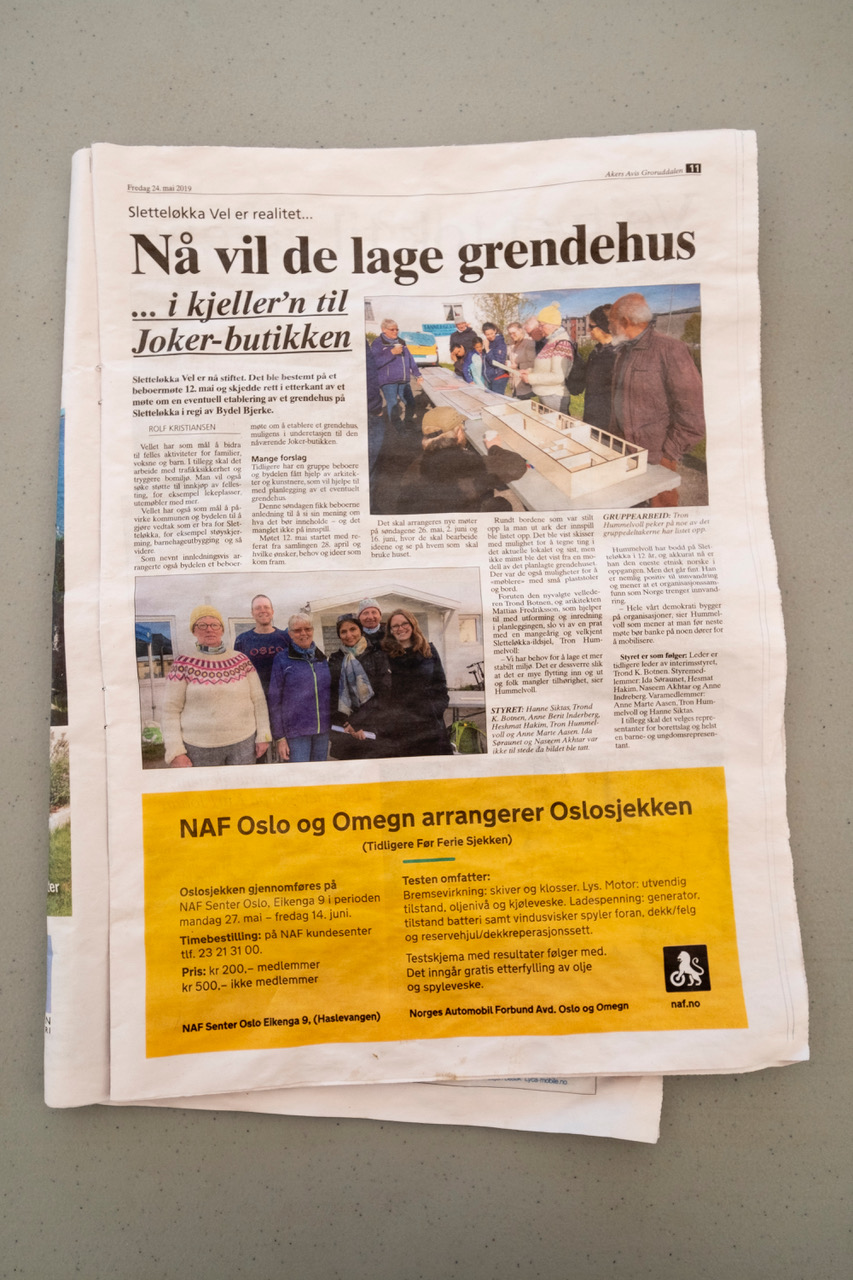 The second Dugnad Days community workshop was featured in Sletteløkka's local newspaper, May 2019. The local residents took this opportunity to establish the first Velforening (residents' association) of Sletteløkka.