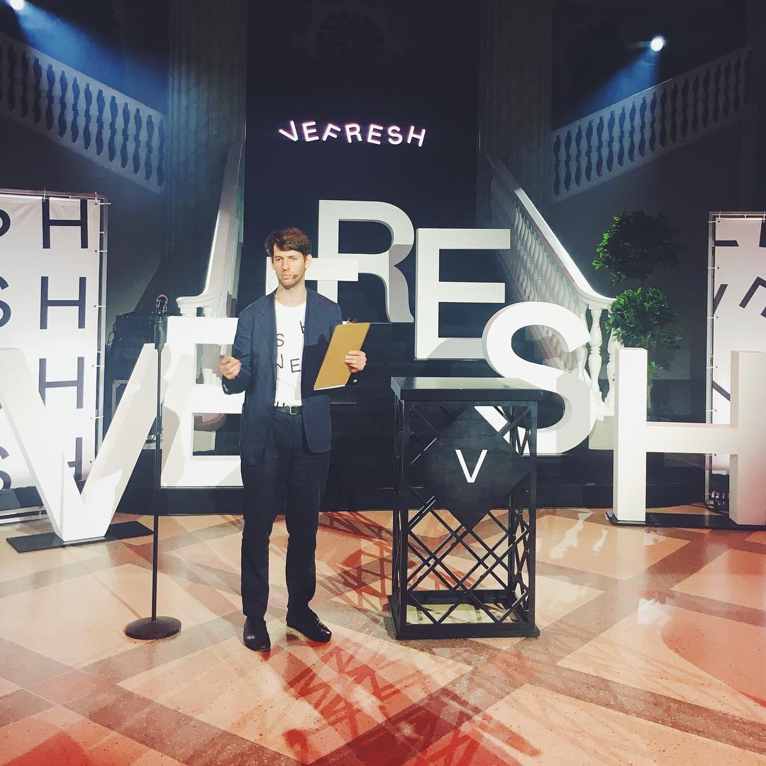 Viesturs Celmins, Chief Executive of Vefresh, at the launch of the open innovation movement, Riga, June 2019.