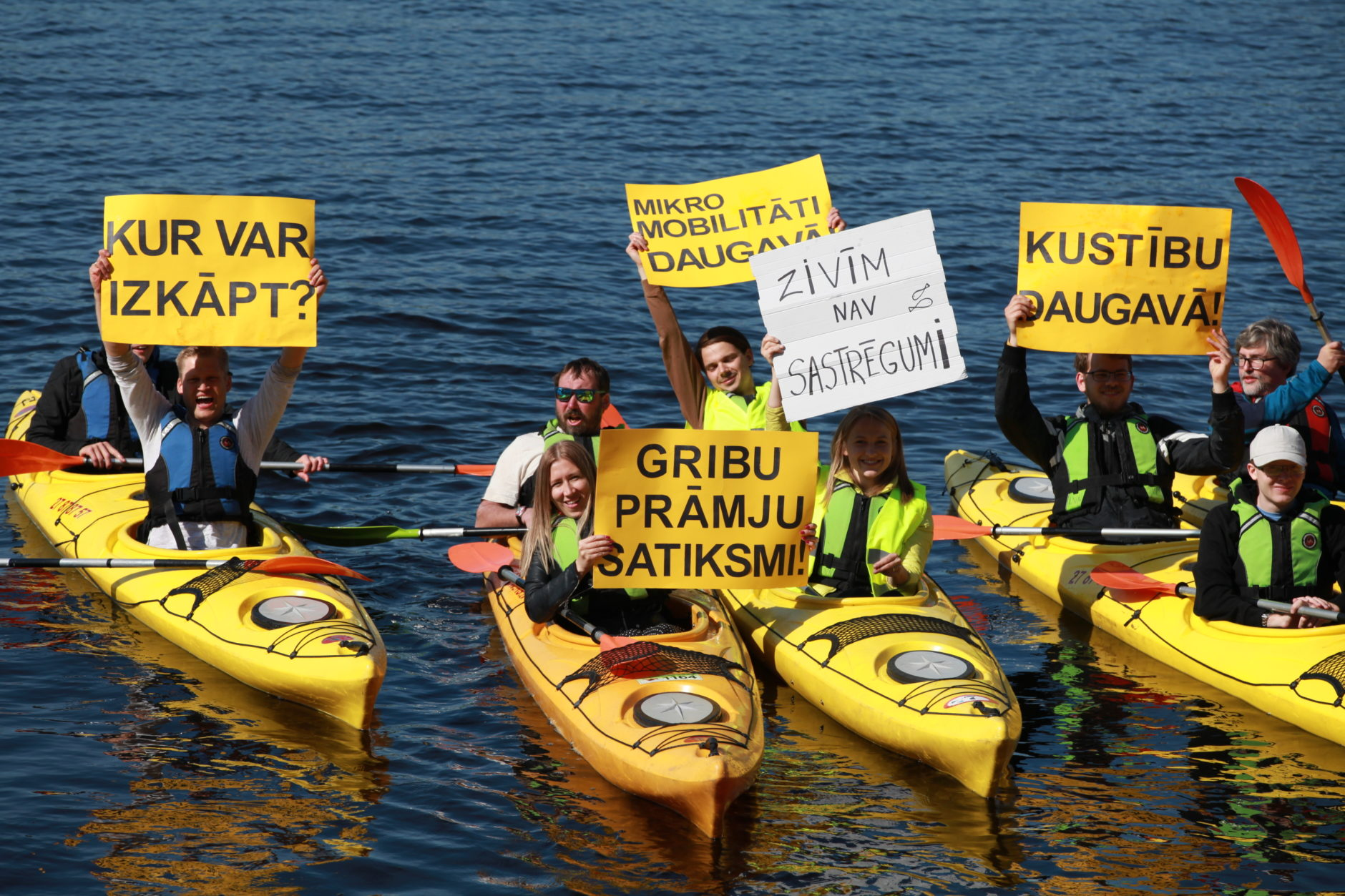 Mad City hackathon participants convey their thoughts from boats on the Daugava River in Riga, Latvia, May 2019.